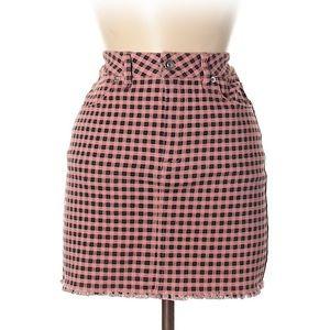 NWT Forever 21 pink checker high rise denim skirt